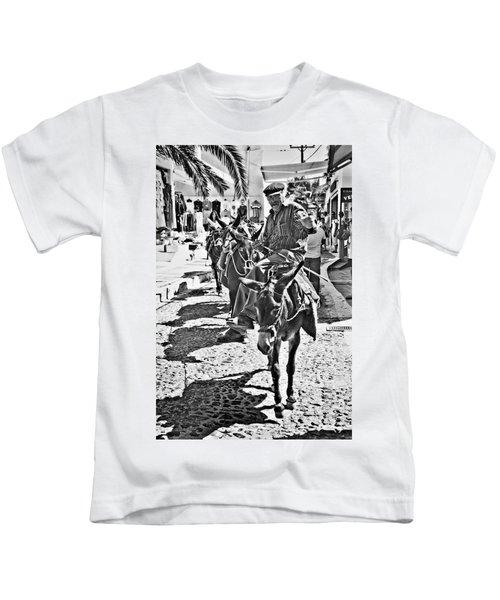 Santorini Donkey Train. Kids T-Shirt by Meirion Matthias