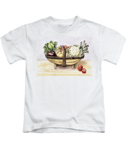 Still Life With A Trug Of Vegetables Kids T-Shirt by Alison Cooper