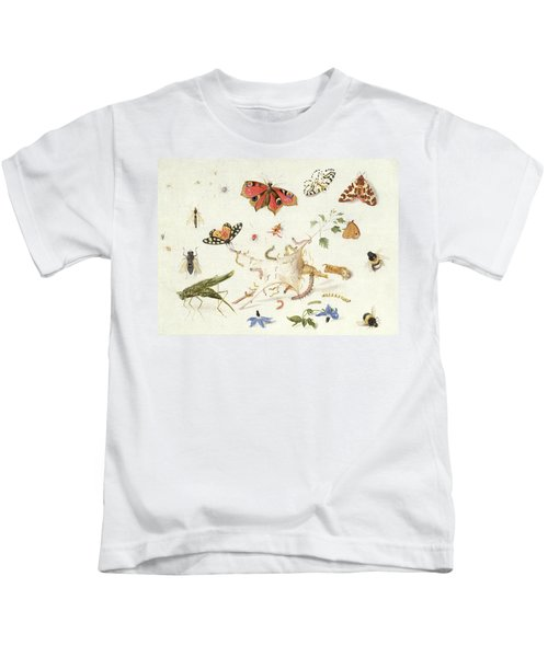 Study Of Insects And Flowers Kids T-Shirt by Ferdinand van Kessel