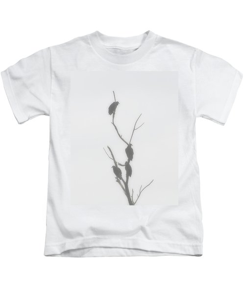 Their Waiting Four Black Vultures In Dead Tree Kids T-Shirt by Chris Flees