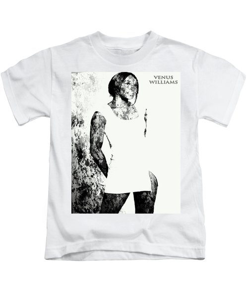 Venus Williams Paint Splatter 2c Kids T-Shirt by Brian Reaves