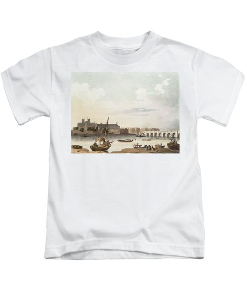 View Of Westminster And The Bridge Wc On Paper Kids T-Shirt by English School