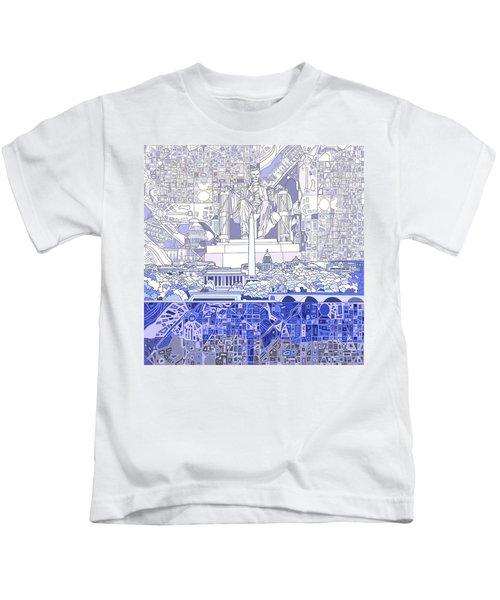 Washington Dc Skyline Abstract 3 Kids T-Shirt by Bekim Art