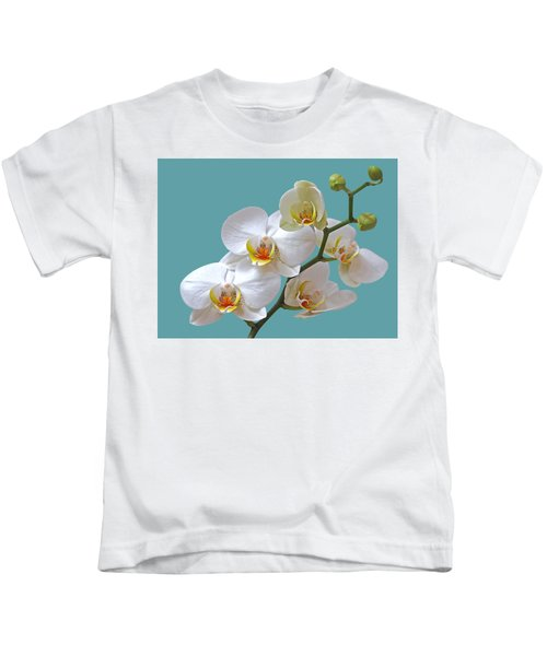 White Orchids On Ocean Blue Kids T-Shirt by Gill Billington