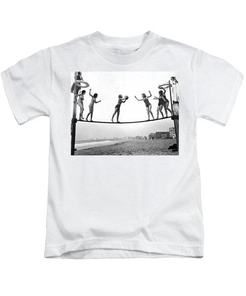 Women Play Beach Basketball Kids T-Shirt by Underwood Archives