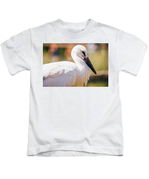 Young Stork Portrait Kids T-Shirt by Pati Photography