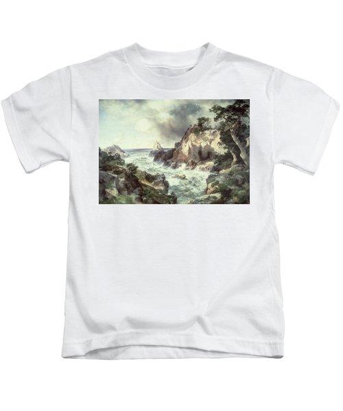 Point Lobos At Monterey In California Kids T-Shirt by Thomas Moran