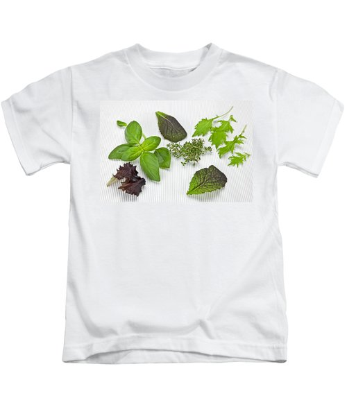 Salad Greens And Spices Kids T-Shirt by Joana Kruse
