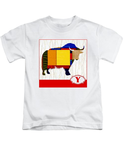 Y Is For Yak Kids T-Shirt by Elaine Plesser