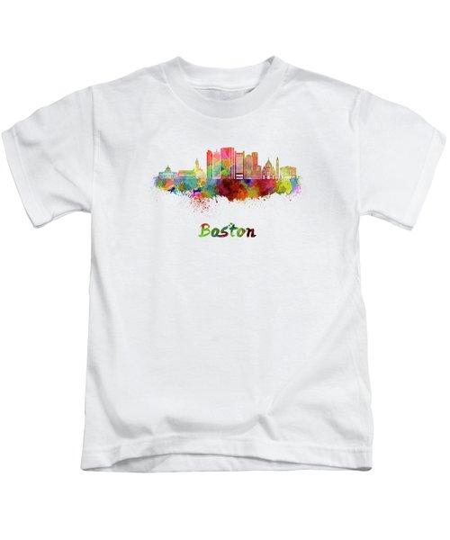 Boston Skyline In Watercolor Kids T-Shirt by Pablo Romero