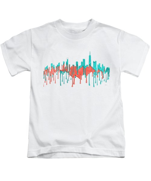 Chicago Illinios Skyline Kids T-Shirt by Marlene Watson