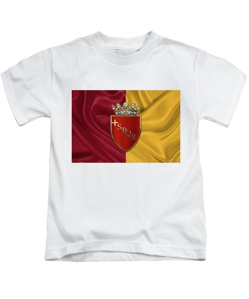 Coat Of Arms Of Rome Over Flag Of Rome Kids T-Shirt by Serge Averbukh