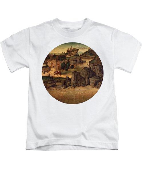 Landscape With Castles Kids T-Shirt by Bartolomeo Montagna