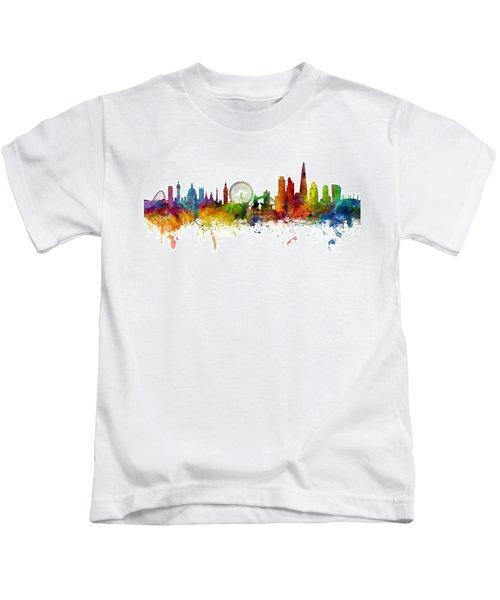London England Skyline Panoramic Kids T-Shirt by Michael Tompsett