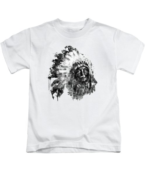 Native American Chief Kids T-Shirt by Marian Voicu