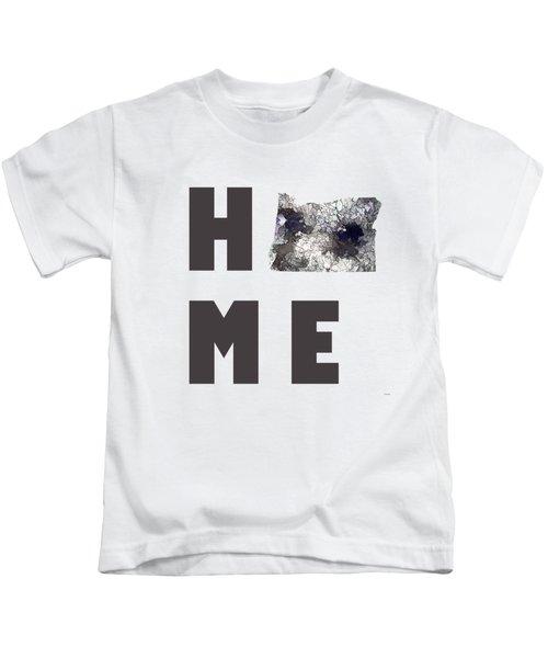 Oregon State Map Kids T-Shirt by Marlene Watson