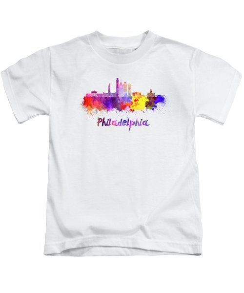 Philadelphia Skyline In Watercolor Kids T-Shirt by Pablo Romero