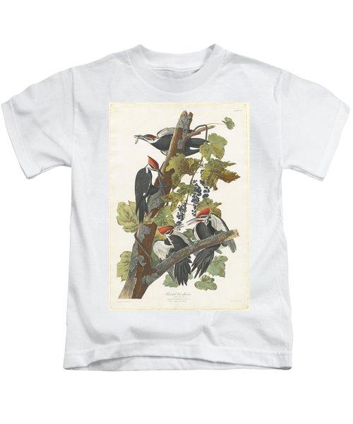 Pileated Woodpecker Kids T-Shirt by John James Audubon