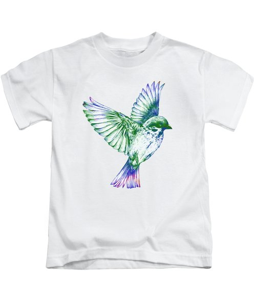 Textured Bird With Changeable Background Color Kids T-Shirt by Sebastien Coell