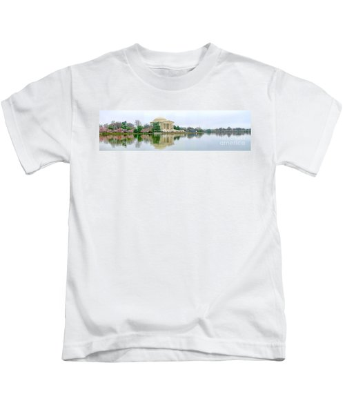 Tidal Basin With Cherry Blossoms Kids T-Shirt by Jack Schultz
