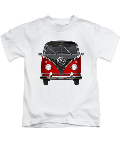 Volkswagen Type 2 - Red And Black Volkswagen T 1 Samba Bus On White  Kids T-Shirt by Serge Averbukh