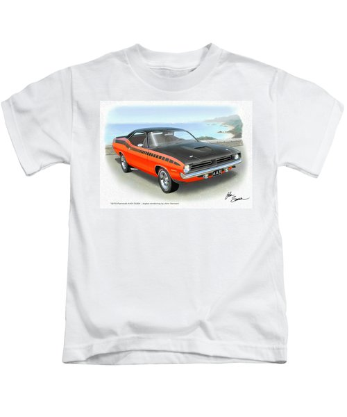 1970 Barracuda Aar  Cuda Classic Muscle Car Kids T-Shirt by John Samsen