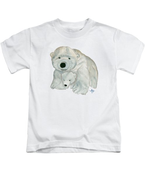 Cuddly Polar Bear Kids T-Shirt by Angeles M Pomata