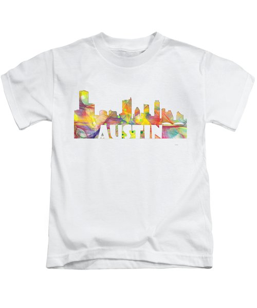 Austin Texas Skyline Kids T-Shirt by Marlene Watson