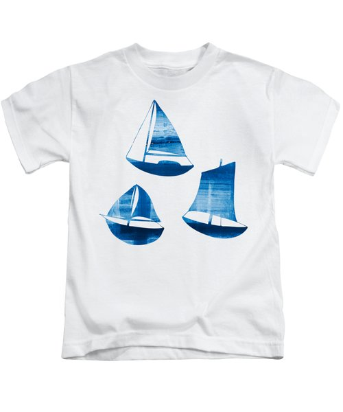 3 Little Blue Sailing Boats Kids T-Shirt by Frank Tschakert