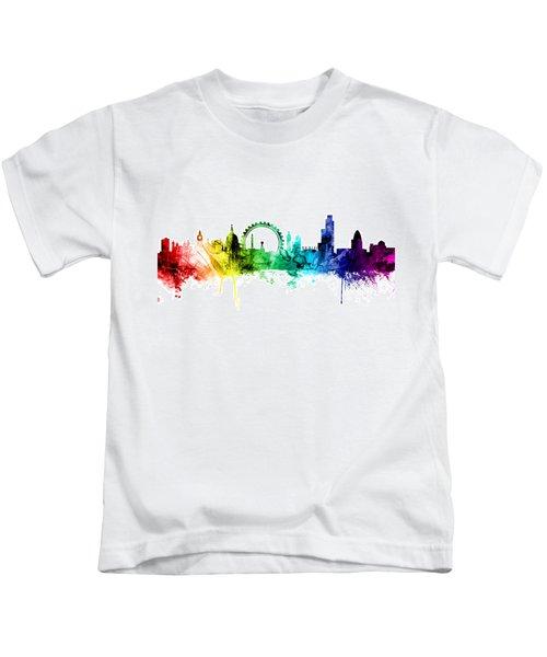 London England Skyline Kids T-Shirt by Michael Tompsett