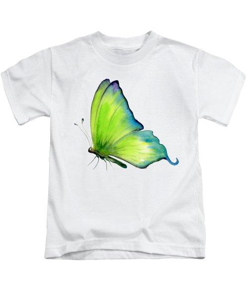 4 Skip Green Butterfly Kids T-Shirt by Amy Kirkpatrick