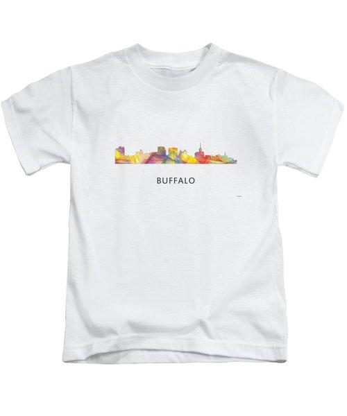 Buffalo New York Skyline Kids T-Shirt by Marlene Watson