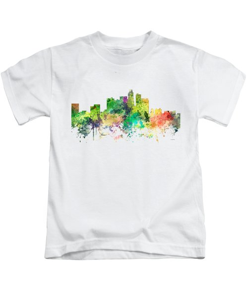 Los Angeles California Skyline Kids T-Shirt by Marlene Watson
