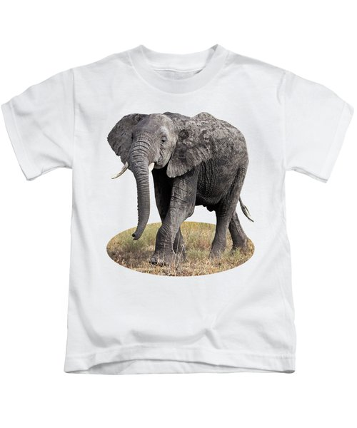 African Elephant Happy And Free Kids T-Shirt by Gill Billington
