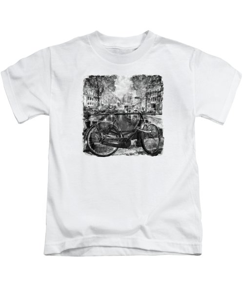 Amsterdam Bicycle Black And White Kids T-Shirt by Marian Voicu