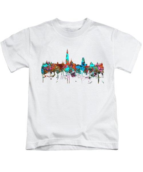 Antwerp Belgium Skyline Kids T-Shirt by Marlene Watson
