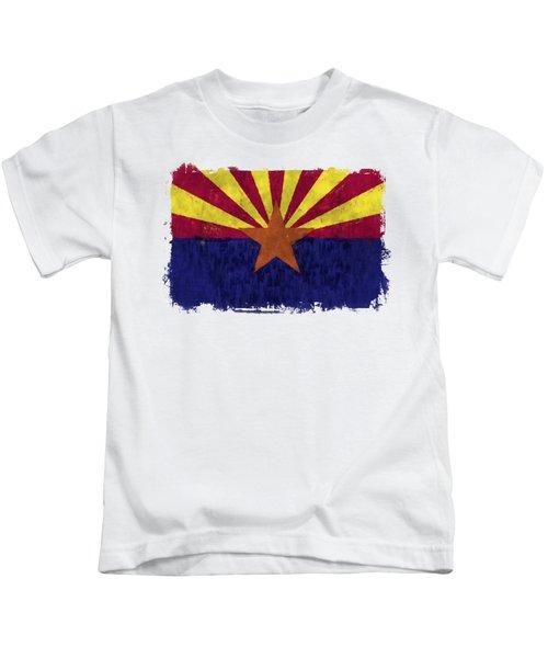 Arizona Flag Kids T-Shirt by World Art Prints And Designs