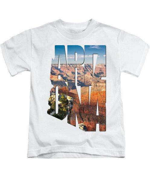 Arizona Typography - Grand Canyon At Sunset Kids T-Shirt by Gregory Ballos