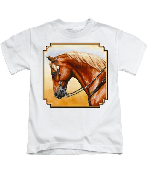 Precision - Horse Painting Kids T-Shirt by Crista Forest