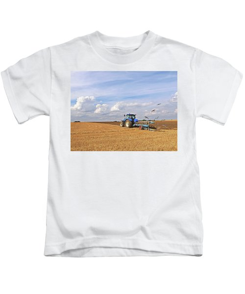 Ploughing After The Harvest Kids T-Shirt by Gill Billington