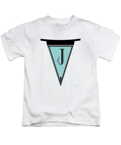 Pennant Deco Blues Banner Initial Letter J Kids T-Shirt by Cecely Bloom