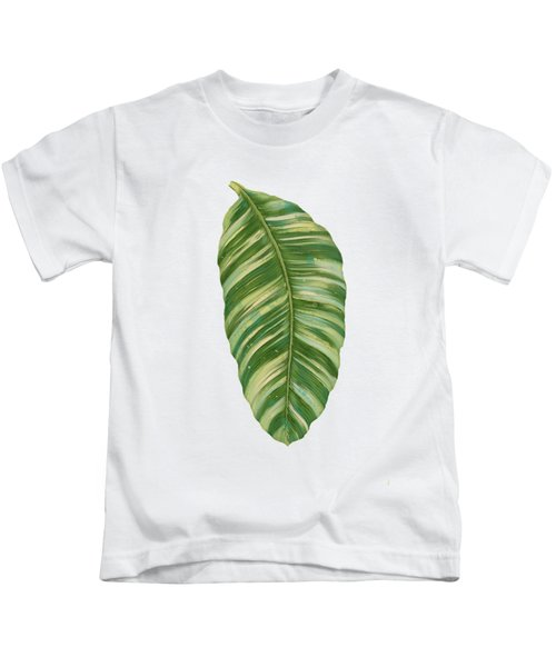 Rainforest Resort - Tropical Leaves Elephant's Ear Philodendron Banana Leaf Kids T-Shirt by Audrey Jeanne Roberts