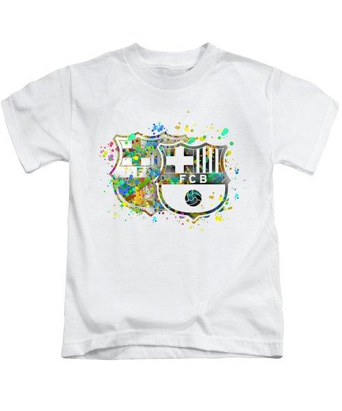 Tribute To F C Barcelona 7 Kids T-Shirt by Alberto RuiZ