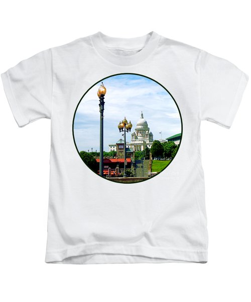 Capitol Building Seen From Waterplace Park Kids T-Shirt by Susan Savad