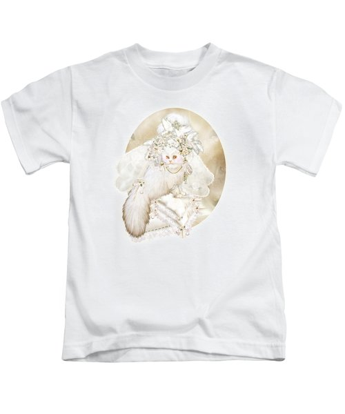 Cat In Fancy Bridal Hat Kids T-Shirt by Carol Cavalaris