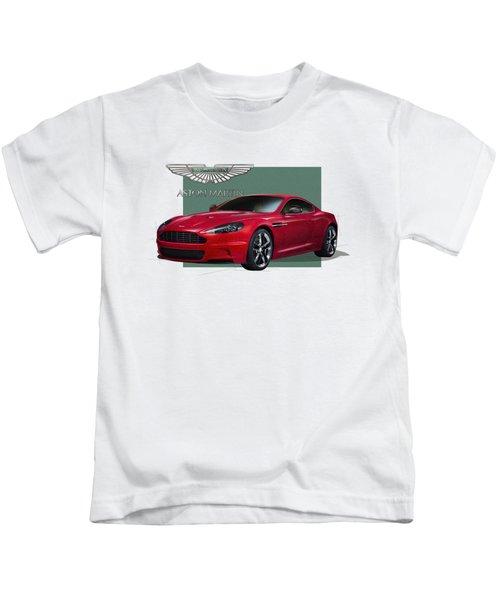 Aston Martin  D B S  V 12  With 3 D Badge  Kids T-Shirt by Serge Averbukh