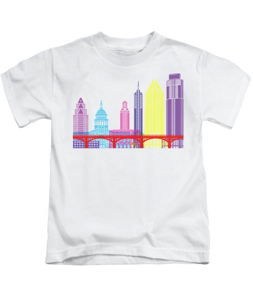 Austin Skyline Pop Kids T-Shirt by Pablo Romero