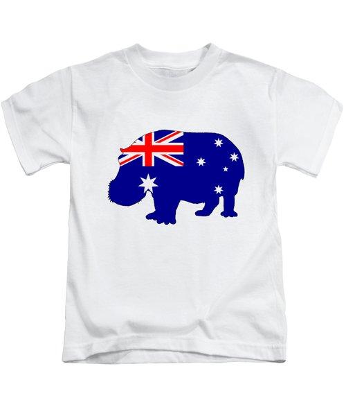 Australian Flag - Hippopotamus Kids T-Shirt by Mordax Furittus