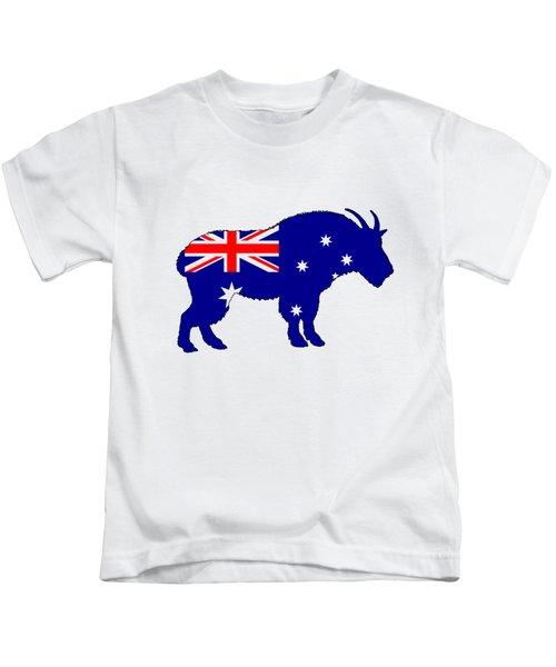 Australian Flag - Mountain Goat Kids T-Shirt by Mordax Furittus