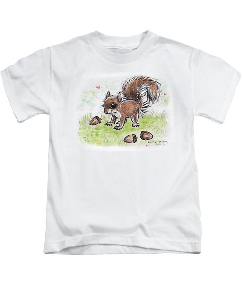 Baby Squirrel Kids T-Shirt by Maria Bolton-Joubert